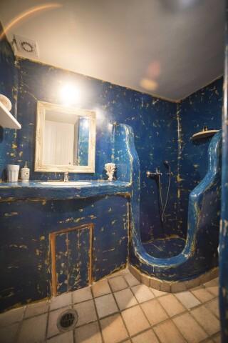 family apartment navy blue suites shower