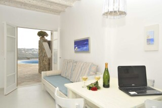 one bedroom apartment with sea view navy blue suites interior