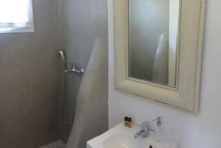 small studio navy blue suites bathroom